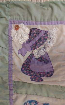 purple calico bonnet after
