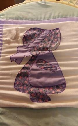 purple calico bonnet before
